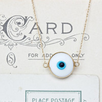 Tiny Stacking Necklace   Dainty 14k Yellow Gold Necklace   Evil Eye   Snow White Charm Necklace   Minimal Jewelry   All Seeing Eye Necklace