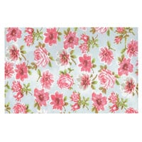 "Heidi Jennings ""Petals Forever"" Blue Pink Decorative Door Mat"