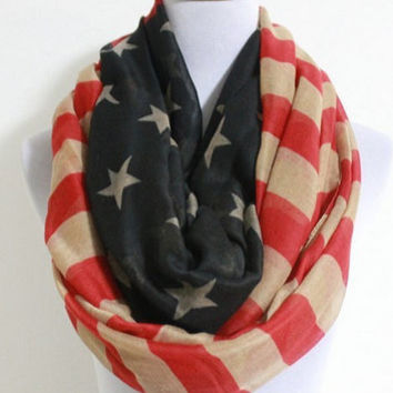 American Flag  USA Infinity Scarf Cute star banner loop scarf Red and Blue star Vintage