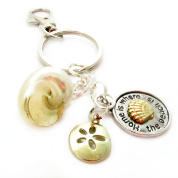 Gold Seashell Keychain with Beach Quote