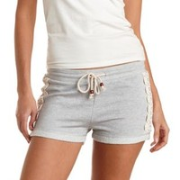 Lt Gray Crochet-Trim French Terry Shorts by Charlotte Russe