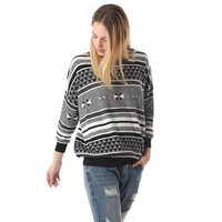 Knitted sweater with print