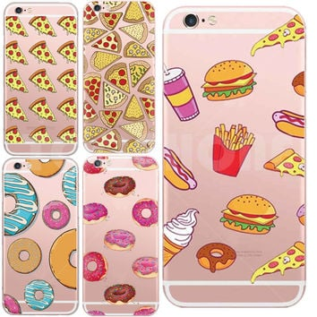 Lovely Sweet Pizza Cover Capa For iPhone 5 5s SE 6 6s 7 plus Dessert ice cream Macarons Styles Clear Soft TPU Phone Case Coque