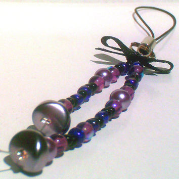 Mixed Purple w/ Black Bead & Bow Phone / Purse Charm