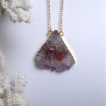 Ice Crystal - Geode Slice - Triangle Necklace - Raw Crystal - Stalactite Rock - Long Necklace