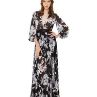 Floral Print Deep V-Neck Lantern Sleeves Maxi Dress