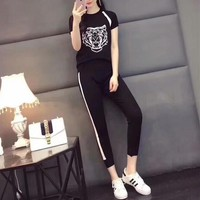 """Kenzo"" Women Casual Fashion Knit Multicolor Tiger Head Short Sleeve Trousers Set Two-Piece Sportswear"