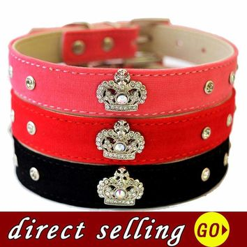 10pcs/lot Personalized Studded Collar Velvet Leather Dog Collar Rhinestone Crown Shaped Accessories Dog Health Supplies