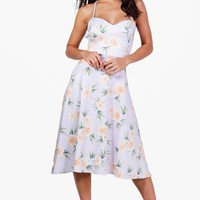 Thea Foral Tie Back Midi Skate Dress | Boohoo