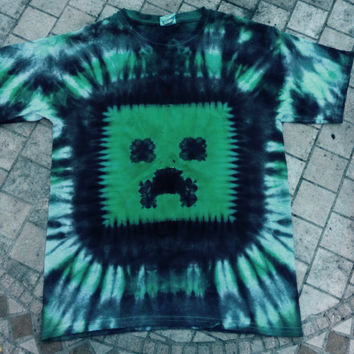 Minecraft Shirt, Tie-dye Shirt, Creeper T-shirt, Youth and Adult Sizes, Minecraft Birthday