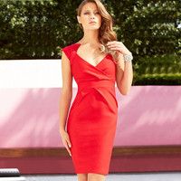 Red Deep V-Neck Ruched Bodycon Midi Dress