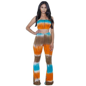 New 2016 Summer Women Two Piece Bodycon Jumpsuit Long Pants Tie-Dye Gradients Sexy Club Plus Size Jumpsuits And Rompers Overalls