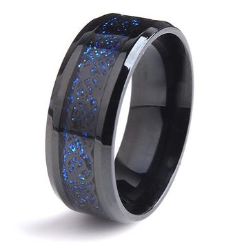 8mm Black Dragon blue carbon fiber wedding rings 316L Stainless Steel men jewelry