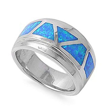 Mosaic Blue Opal Smooth Inlay in Band