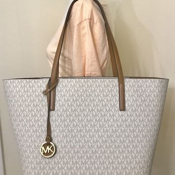 MICHAEL MICHAEL KORS HAYLEY LARGE EW TOP ZIP VANILLA MK LOGO TOTE BAG