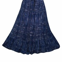 Mogul Interior Women's Blue Maxi Skirt Cotton Printed Casual Tiered Long Skirts S/M: Amazon.ca: Clothing & Accessories