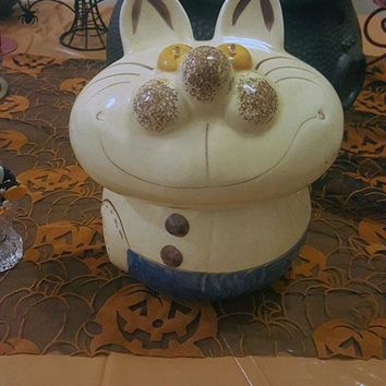 L.A. Pottery Alice in Wonderland Whimsical Cheshire Cat Cookie Jar