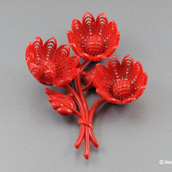Vintage Plastic Celluloid Flower Brooch Pin 3D Chunky Design