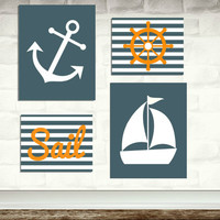 Nautical Nursery Art Prints / set of 4 / 2 11x14 inch and 2 8x10 / navy blue and orange / sail , anchor , wheel / baby boy's room decor