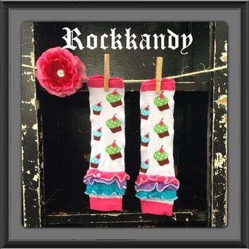 Cupcake Ruffle Birthday Baby/Girl Leg Warmers by RockkandyKids