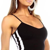Sexy Neon Trim Balance Work Out Triple Stripe Fitness Full Coverage Top - Black/White