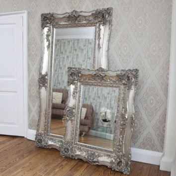 Vintage Ornate Silver Decorative Mirror