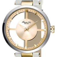 Women's Kenneth Cole New York Cutout Dial Leather Strap Watch, 36mm