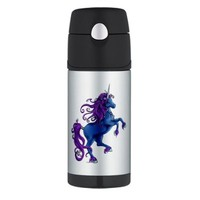 Unicorn Fantasy design in you Pink Therm Thermos Bottle 12oz by CafePress - Black