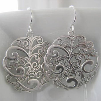 NEW - Georgiana Earrings, Ornate Filigree Earrings with Sterling Silver