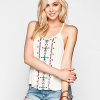 Full Tilt Embroidered Womens Tank Cream  In Sizes