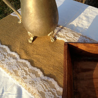 Burlap Lace Table Runner - Natural - 10 x 108 - Rustic, Shabby