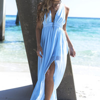 Take The Plunge Baby Blue Maxi Dress