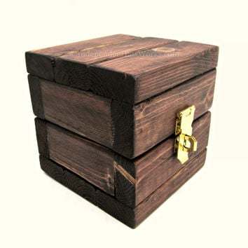 Miniature Wooden Storage Cube with Lid - Unique Wood Jewelry Gift Box - Rustic Ring Box with Brass Latch - Handmade Little Wooden Box