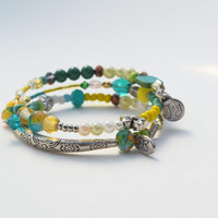 Yellow Green bracelet gift set, silver charm, memory wire jewelry, beaded, gifts for her, Hope joy charms, blue green, colorful handmade