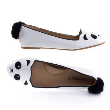 Kiwi74S Panda By Bamboo Panda Adorable Round Toe Ballet Flat Loafer w Cute Animal Face, Faux Fur Tail