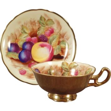 Vintage China Cup & Saucer - Occupied Japan with Colorful Fruit and Gold Exterior