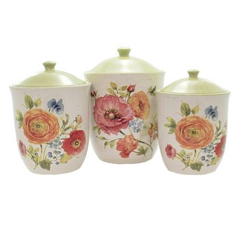 Tabletop COUNTRY FRESH CANISTER SET Ceramic 3 Piece Set Flowers Roses 26808