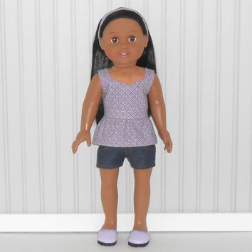 American Girl Doll Clothes Denim Jean Shorts with Lavender Peplum Top and Headband fits 18 inch dolls