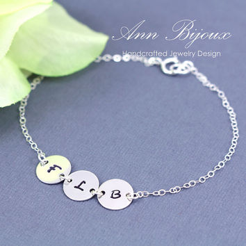 Personalized Stamped Initial Bracelet, Hand Stamped Initial Bracelet, Sterling Silver Initial Bracelet, Bridesmaid Gift, Mother Gift