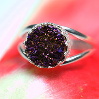 Round 925 sterling silver ring with purple druzy quartz, Vintage ring, Cocktail ring, Bridesmaid gift