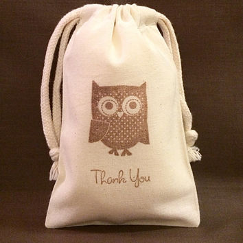 """30 Owl party favor bags 4"""" by 6"""" made of Organic Cotton - you choose ink color(s)"""