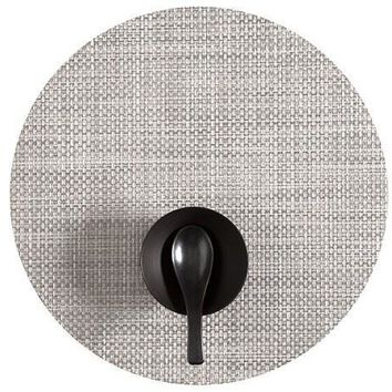 CHILEWICH Basketweave Round  Placemat S/4 | White-Silver