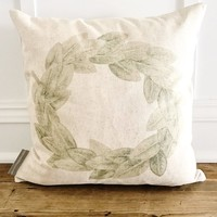 Watercolor Magnolia Wreath Pillow