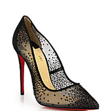 Christian Louboutin - Follies Velvet-Dotted Mesh Pumps - Saks Fifth Avenue Mobile