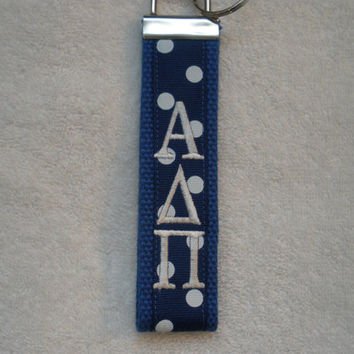 Alpha Delta Pi Sorority (OFFICIAL LICENSED PRODUCT)  Monogrammed Key Fob Keychain Cotton Webbing Ribbon Wristlet
