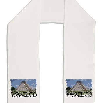 """Mexico - Mayan Temple Cut-out Adult Fleece 64"""" Scarf"""