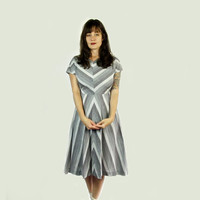 Vintage Grey and White Chevron Day Dress