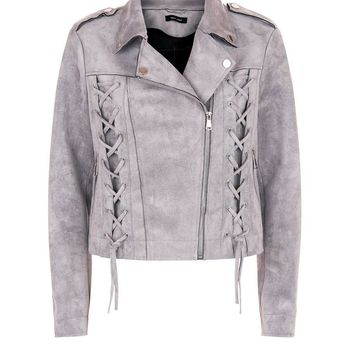 Grey Suedette Lace Up Biker Jacket | New Look