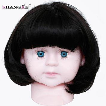 SHANGKE Short Baby Hair Wig Bob Hair Wigs For Children Heat Resistant Synthetic Fake Hairstyles