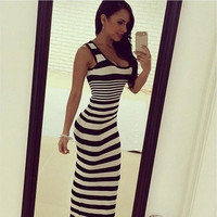 Sexy Women Striped Tank Long Dress Roupas Femininas Women Sexy Maxi Dresses